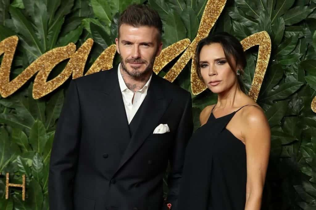 David Beckham, Victoria Beckham posing for a picture